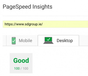 100% score for WordPress on Google Insights - Desktop